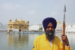 Closeup of a guard at the Golden Temple, Amritsar Stock Photo