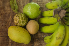 Closeup Guava Sugar-apple Sapodilla Mango Banana Royalty Free Stock Photo