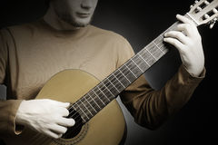 Closeup guitar with guitarist hands Royalty Free Stock Image