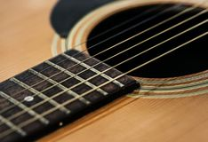 Closeup of guitar strings instrument Royalty Free Stock Photos
