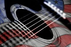 Closeup of Guitar Strings for Music American Flag Americana USA royalty free stock photos