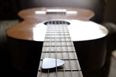 Closeup of Guitar Strings for Music Stock Photography