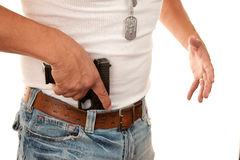 Closeup Gun Being Drawn Stock Photography