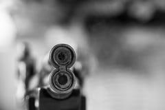 Closeup gun muzzle lighter. In black and white tone Royalty Free Stock Photo