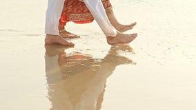 Closeup Guy Girl in Long Walk Barefoot in Shallow Water stock video