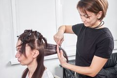 Closeup of hair dresser combing client`s hair in salon.  royalty free stock photo