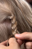 Closeup of a hairdresser braiding hair in trendy plait Stock Photography