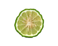 Closeup half cut fresh bergamot or Leech Lime on white Royalty Free Stock Photography