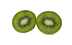 Closeup half cut of kiwi fruit on white Royalty Free Stock Images