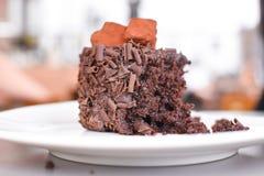 Closeup of half eaten chocolate cake. Royalty Free Stock Images