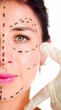 Closeup half of face caucasian woman with dotted lines drawn around left eye, preparing cosmetic surgery Royalty Free Stock Photos