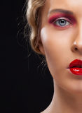 Closeup half face portrait of girl Royalty Free Stock Photo