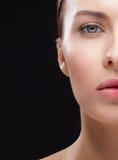 Closeup half face portrait of girl Stock Photos