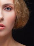 Closeup half face portrait of girl Stock Photography