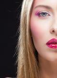 Closeup half face portrait of girl Royalty Free Stock Photos