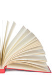 Closeup of half-open book. On white background, with clipping path Royalty Free Stock Photos