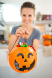 Closeup on halloween bucket full of trick or treat candy Royalty Free Stock Photography