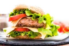 Closeup of Hamburger with Cheese Fresh Vegetables Royalty Free Stock Photos