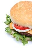 Closeup hamburger or cheeseburger. On white background stock images