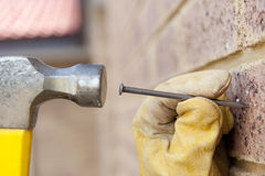 Closeup hammer nail hand renovation Stock Image