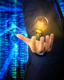 A hand of an asian business man with a lightbulb Stock Image