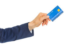 Closeup on hand of business woman giving credit card Stock Photo