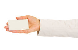 Closeup on hand of business woman holding business card Stock Photos
