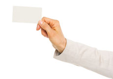 Closeup on hand of business woman holding business card Stock Image