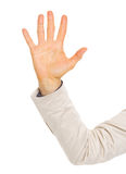 Closeup on hand of business woman showing five fingers Royalty Free Stock Photography