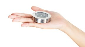 Closeup hand and compass Stock Images