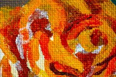 Closeup of hand drawing rose. Acrylic paints. Close-up of hand drawing rose. Acrylic paints stock photography