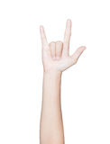 Closeup hand gesture fan club isolated white clipping path insid Stock Images