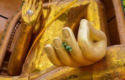 Closeup at hand of Gold big buddha statue temple wat tham sua Royalty Free Stock Image