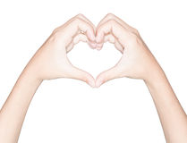 Closeup hand heart love symbol isolated white clipping path insi Royalty Free Stock Images