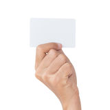 Closeup hand hold card isolated with clipping path Stock Image