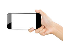 Closeup hand hold smartphone mobile isolated on white clipping path inside Stock Images
