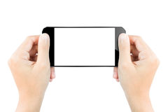 Closeup hand hold smartphone screen display isolated white. Closeup hand hold smartphone show screen display isolated white Stock Photos