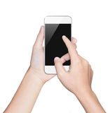 Closeup hand hold smartphone white clipping path inside Royalty Free Stock Images