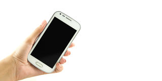 Closeup of hand hold white phone isolate. Closeup of hand hold white phone stock photos