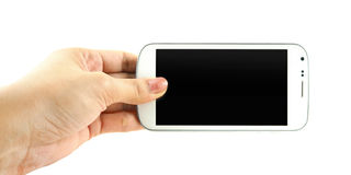 Closeup of hand hold white phone isolate on white background. Closeup of hand hold white phone isolate stock photo