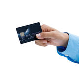 Closeup of hand holding credit card over white background Stock Photo