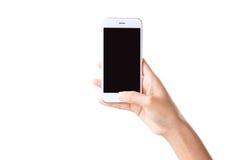 Closeup hand holding phone Stock Photos