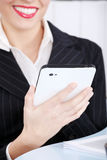 Closeup on hand holding tablet. Stock Image