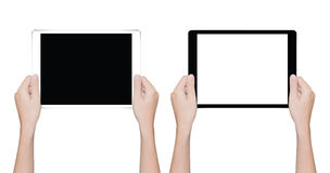 Closeup hand holding tablet isolated white clipping path inside. Close up hand holding tablet isolated white clipping path inside Royalty Free Stock Image