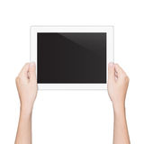Closeup hand holding tablet isolated white clipping path inside Royalty Free Stock Images
