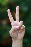Closeup of hand making victory sign gesture Stock Photo
