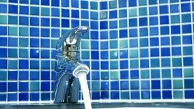 Closeup hand man opening closing bathroom tap. Closeup hand man opening and closing bathroom tap stock video