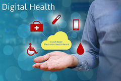 Closeup of hand man show holding cloud in palm, Digital health c. Oncept Stock Photos