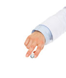 Closeup on hand of medical doctor holding syringe Royalty Free Stock Photo