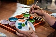 Closeup of hand painted bowl Stock Photos